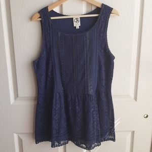 One September Navy Lace Coraline Top Size Large